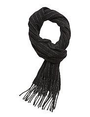 MJM Scarf Pinstrip Wool Mix Navy - BLACK
