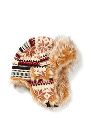 Fur Hat Trapper W Knit/Faux Fur l - MULTI COLOURED