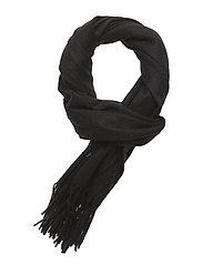BO Scarf W Solid 100 % Wool Black - BLACK