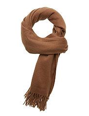 BO Scarf W Solid 100 % Wool Black - CAMEL