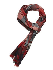 BO Scarf W Check Lambswool Red Check - RED