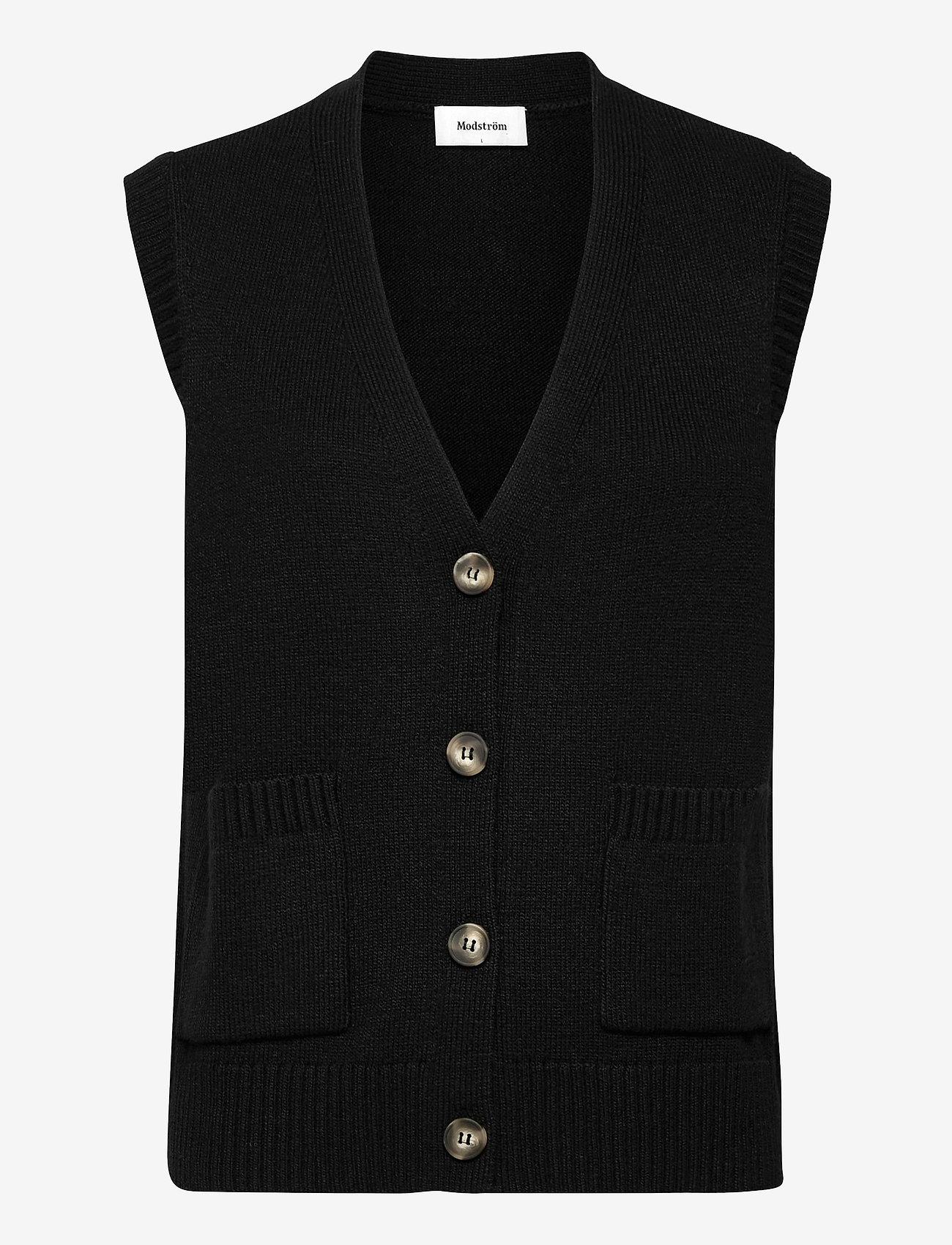 Modström - Hedvig vest - knitted vests - black - 0