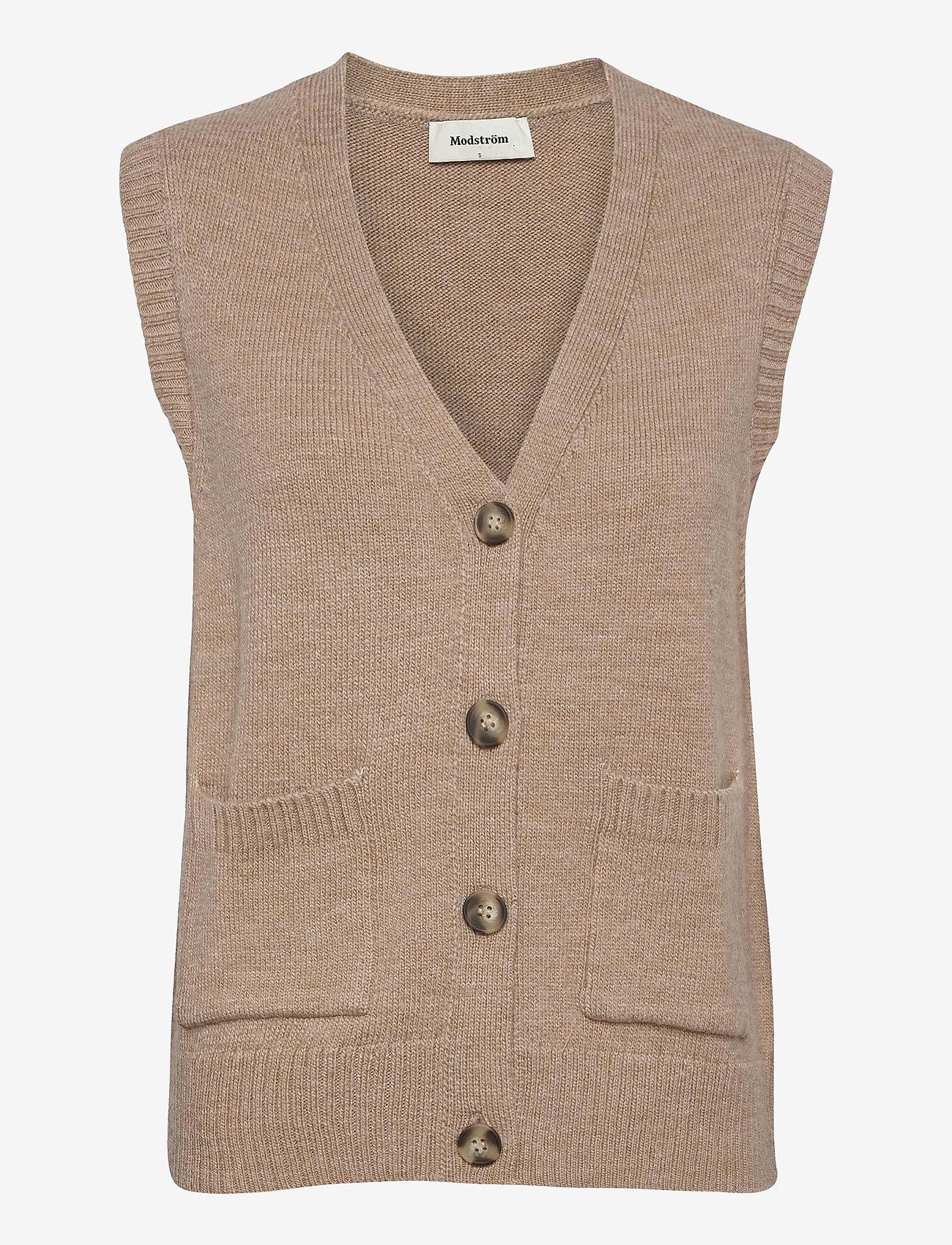 Modström - Hedvig vest - knitted vests - powder sand - 0