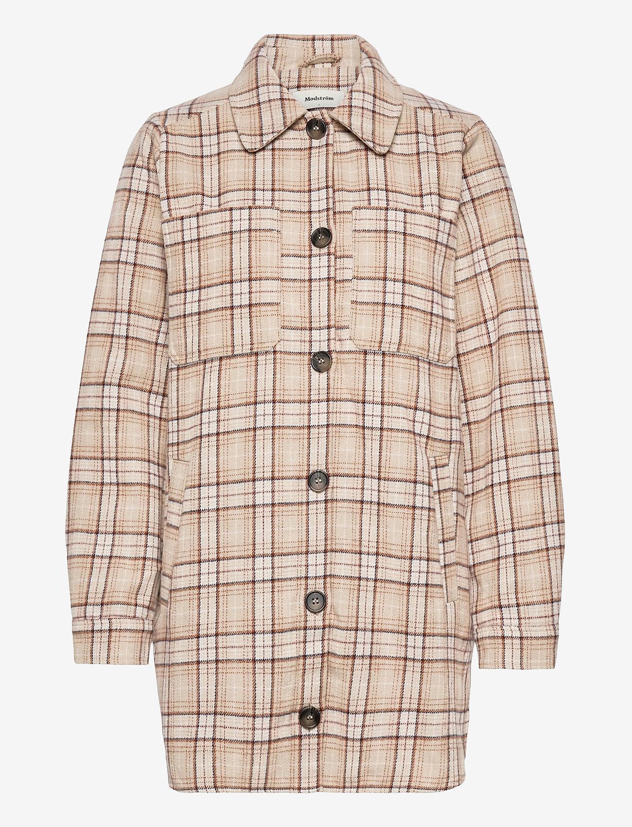 Modström - Ikaia coatigan - overshirts - cream brown check - 0