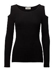 Krown cold shoulder LS top - BLACK
