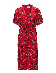 Tassel print long dress - RED BLOOM