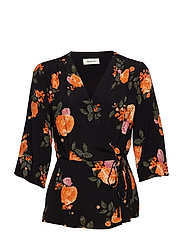 Kendall print wrap top - ROSE GARDEN