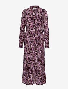 Solero print dress - shirt dresses - purple snake