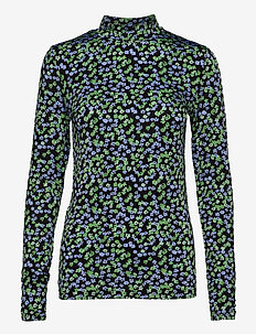 Essy print top - blue mini floral