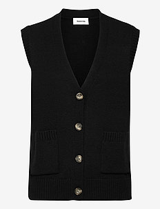 Hedvig vest - gebreide vesten - black