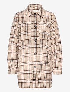Ikaia coatigan - overshirts - cream brown check