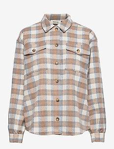 Ilma shirt - langærmede bluser - light blue camel check
