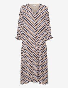 Clementine print LS dress - hverdagskjoler - faded dark stripe