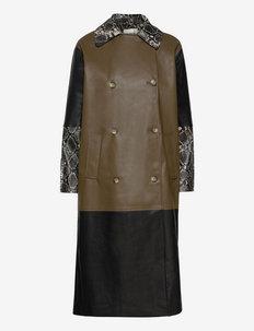 Kara mix coat - lette frakker - brown snake