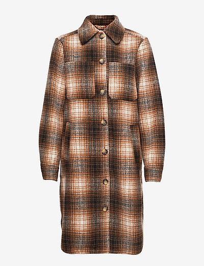 Kori check coatigan - wool coats - chipmunk check