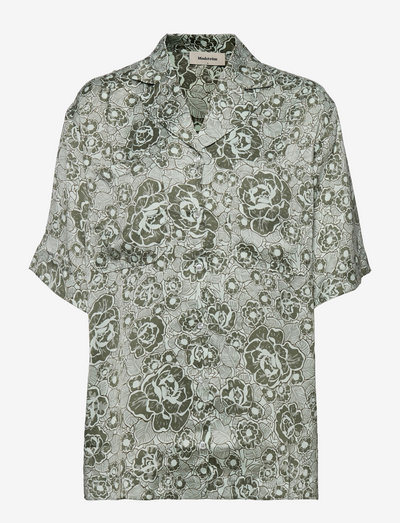 Leo print shirt - kortærmede skjorter - sage rose