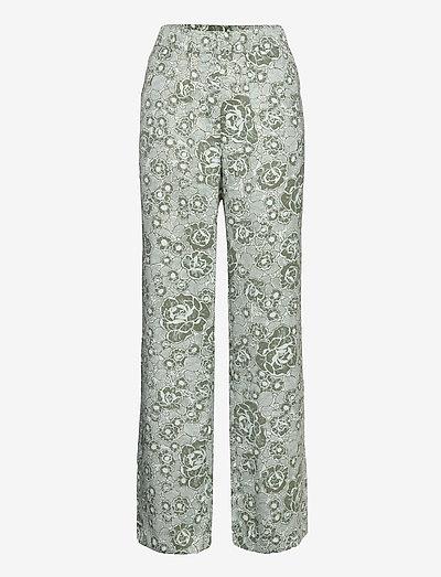 Leo print pants - bukser med brede ben - sage rose