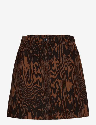 Mateo print skirt - korte nederdele - pecan wood