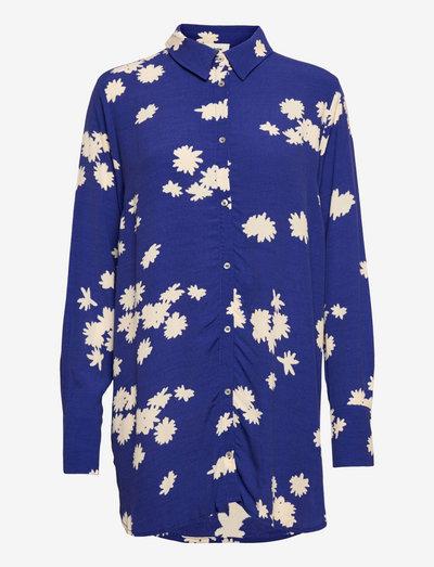 Mina print shirt - denim shirts - wind flower blue