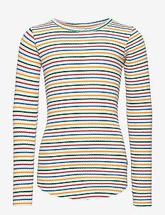 Rochelle - langærmede t-shirts - fine rainbow stripe