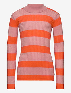 Gitte - habits tricotés - orange desert stripe