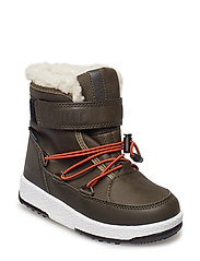MB MOON BOOT W.E. JR BOY BOOT WP - OLIVE GREEN-ORANGE
