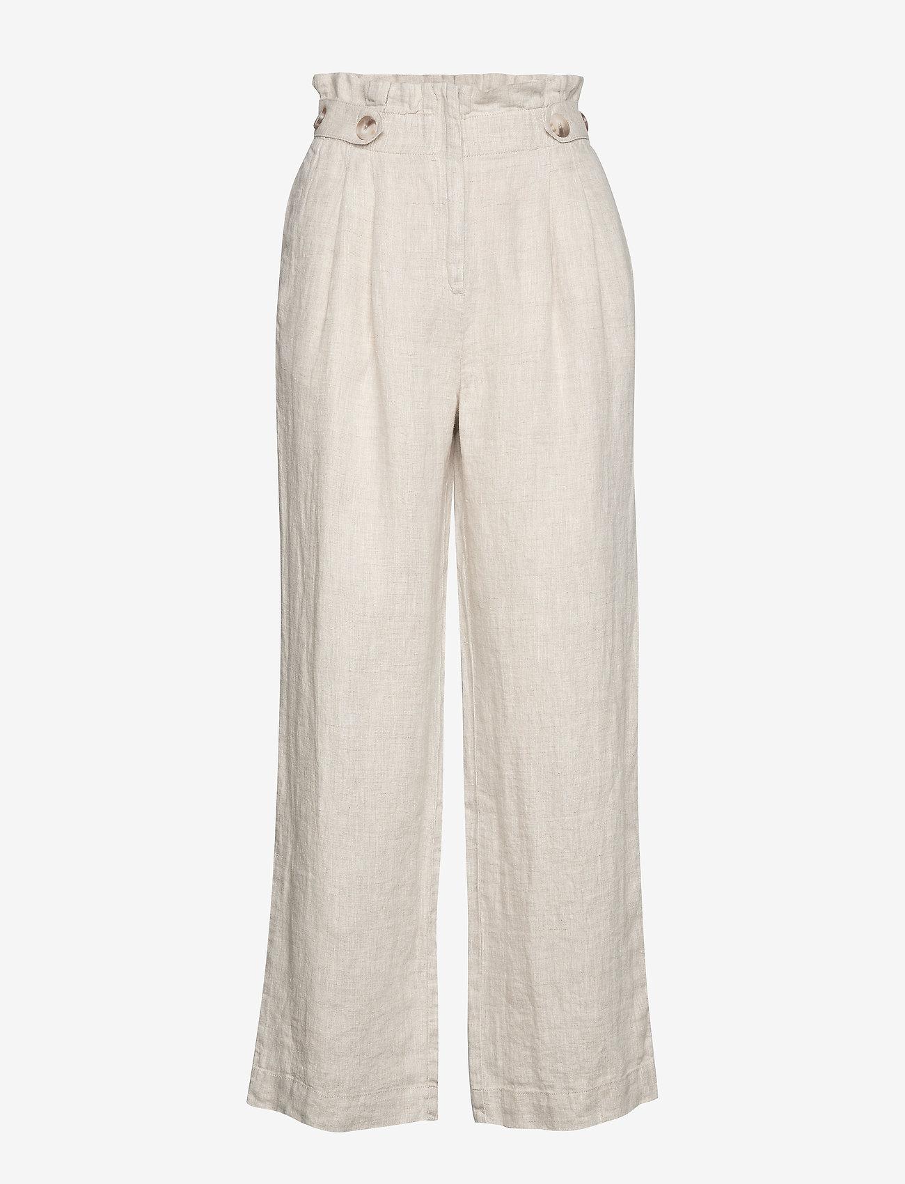 Morris Lady - Elsa Linen Trousers - bukser med brede ben - khaki - 0