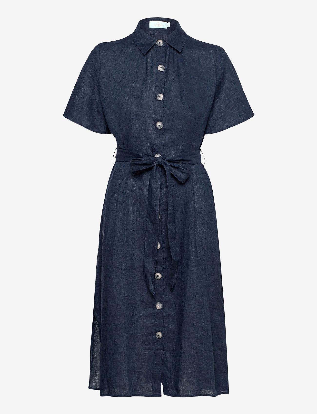 Morris Lady - Hanna Linen Dress - vardagsklänningar - blue - 0