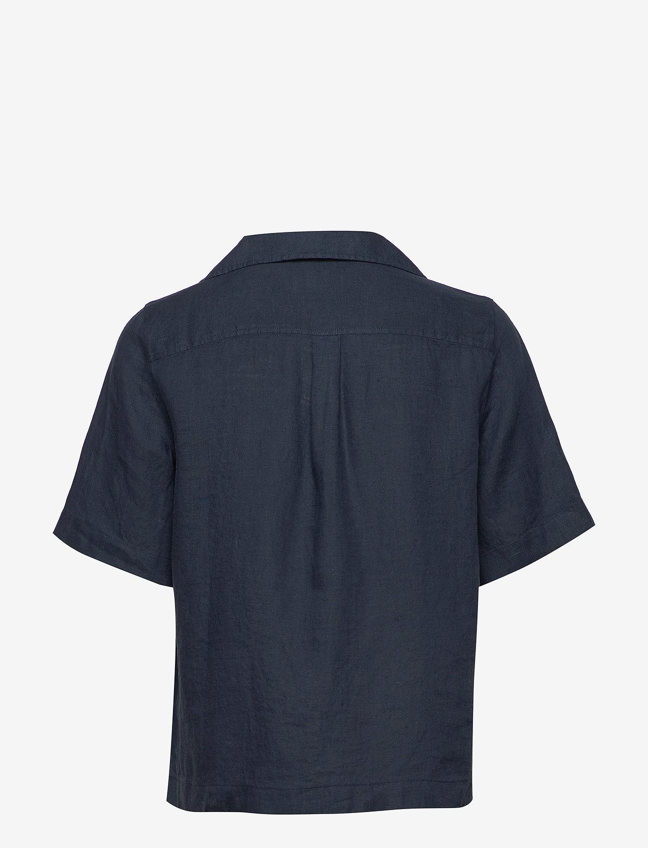 Morris Lady - Donna Linen Shirt - kortärmade skjortor - navy - 1