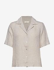 Morris Lady - Donna Linen Shirt - kortärmade skjortor - khaki - 0