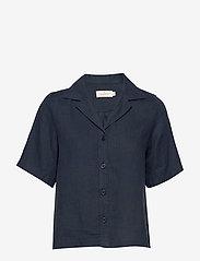 Morris Lady - Donna Linen Shirt - kortärmade skjortor - navy - 0