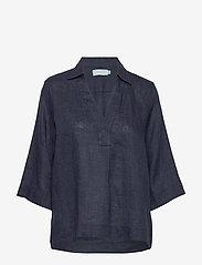 Morris Lady - Marseille Linen Blouse - kortärmade blusar - blue - 0