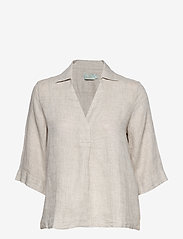 Morris Lady - Marseille Linen Blouse - kortärmade blusar - khaki - 0