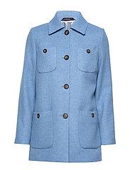 Marea Herringbone Coat - BLUE
