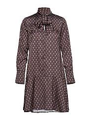 Aderyn Print Dress - BLACK