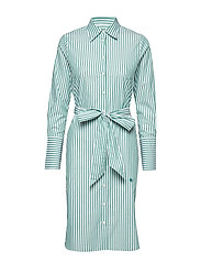 Chiara Striped Shirt Dress - GREEN