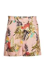 Mara Printed Linen Shorts - PINK