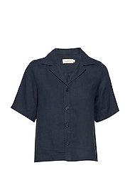 Donna Linen Shirt - NAVY