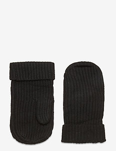 Aubrey Ribbed Mittens - gloves - black