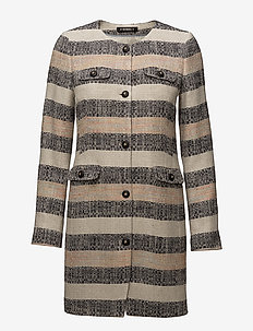 Audrey Stripe Coat - KHAKI