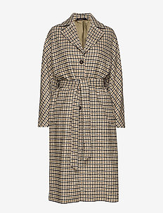 Maebel Checked Coat - OLIVE