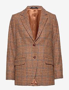 Castillon Checked Blazer - oversized blazers - brown