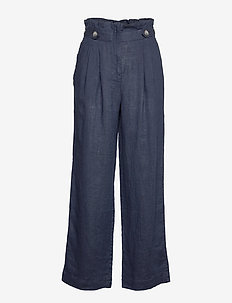 Elsa Linen Trousers - wide leg trousers - blue