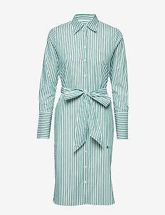 Chiara Striped Shirt Dress - GREEN