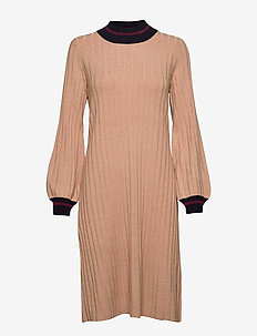 Jaqueline Knit Dress - midiklänningar - camel