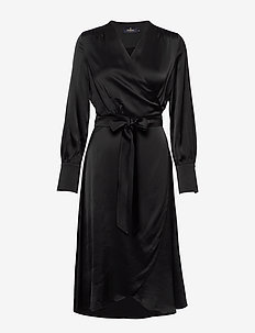 Aurelie Wrap Dress - BLACK