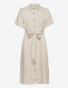 Hanna Linen Dress - paitamekot - khaki