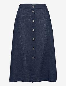Nathalie Linen Skirt - midi skirts - blue