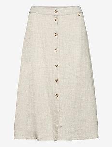 Nathalie Linen Skirt - midinederdele - khaki