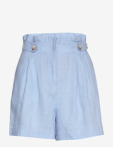 Elsa Linen Shorts - paper bag shorts - blue